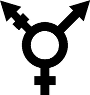 A transgender symbol, a combination of the male and female sign with a third, combined arm representing transgender people.